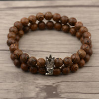 Couples Bracelets King Queen Wooden Stone Crown Beaded Bracelets For Men Women