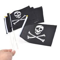 Lots Black Pirate Flag Skull and Crossbones Pattern Jolly Roger Mini Decor 5pcs