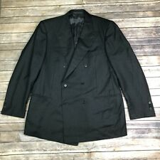 Ermenegildo Zegna 58 Black Wool Fine Worsted Super 100s Double Breasted Blazer