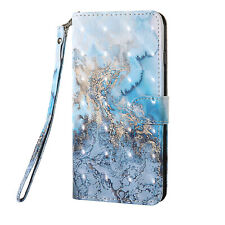 3D Painting PU Leather Wallet Case Flip Cover Card Slot for Phones Ocean Wave