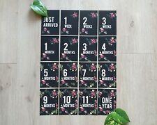 Baby Milestone Cards - 0-12 months Dark Floral Design