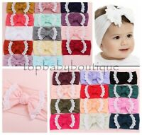 Baby Girl Cable Knit Nylon Turban Knot Headband Newborn Accessories Top