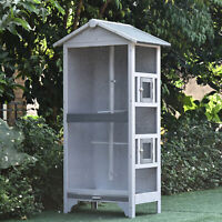 Pawhut 4 Perch Wooden Outdoor Bird Cage, Featuring a Large Play House