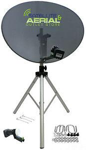 80cm satellite dish quad LNB & tripod stand kit For Sky portable camping caravan