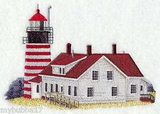 West Quoddy Lighthouse - Maine SET OF 2 BATH HAND TOWELS EMBROIDERED BY LAURA