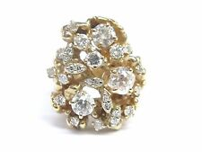 Fine 14K Vintage Old European Cut Diamond Cluster Yellow Gold Jewelry Ring 2.07C