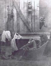 "Hendrickson Original Photo B&W NUDE BATHING WOMAN w/ A VOYEUR! 10x13"""