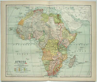 Original 1898 Map of Africa by Dodd Mead & Company. Antique