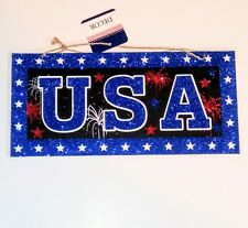 """NEW Patriotic 4th Of July Glitter Fireworks & Stars """"USA"""" Faux Wood Hanging Sign"""
