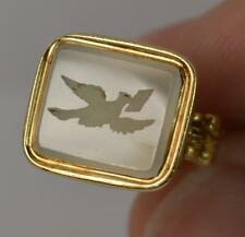 George III 15ct Gold Dove of Hope Chalcedony Agate Intaglio Fob Seal Pendant 965