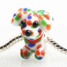 1pcs SILVER MURANO GLASS BEAD LAMPWORK Animal Fit European Charm Bracelet DW169