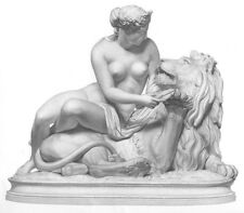 KING JUNGLE LION & YOUNG NAKED NUDE GIRL BREASTS CUDDLE 1855 Art Print Engraving