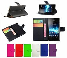 Black Leather Wallet Book Flip Case Pouch For Sony Xperia X Compact + Glass