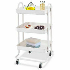 Storage Serving Island Utility for Kitchen 3-Tier Steel Cart Portable Rolling