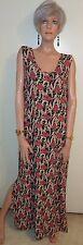 FLAX JEANNE ENGELHART Floral Maxi Dress Rayon Side Slits M/L MINT!