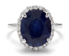 7.40Ct Natural Blue Sapphire & Diamond 14K White Solid Gold Ring