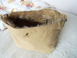 KANGOL Bag Handbag in light brown in excellent condition with fur detail
