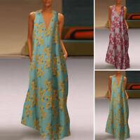 ZANZEA UK Womens Sleeveless V Neck Long Maxi Dress Bohemian Beach Floral Dresses