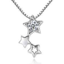 Women 925 Sterling Silver Three Star Pendant Necklace Chain Jewellery Uk