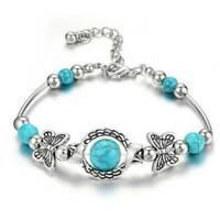 Boho Women Tibetan 925 Silver Turquoise Bangle Cuff Bracelet Retro Jewelry Gift,