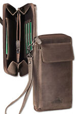 Woodland® Handgelenktasche / Universaltasche aus naturbelassenem Leder in Braun
