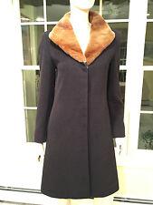 CINZIA ROCCA Black 100% Virgin Wool & Brown Weasel Fur Long Coat SIZE 2 X-Small
