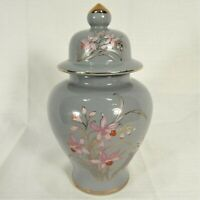 Vintage Ginger Jar Fine China Japan Gray Pink Flowers Gold Trim Small Pet Urn
