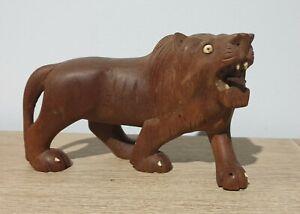 VINTAGE WOODEN HAND CARVED LION STATUE 1950/60