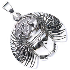 Solid Sterling Silver Egyptian Winged Scarab Beetle Eye of Horus Pendant P007