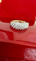 18K YELLOW GOLD .70CT G/VS NATURAL ROUND CUT  DIAMOND CLUSTER RING WEDDING BAND