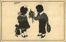 Alwin Freund - Boy & Girl Flowers - Silhouette c1910 Postcard