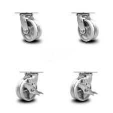 5 Inch V Groove Semi Steel Swivel Caster Set With Roller Bearings 2 Brakes Scc
