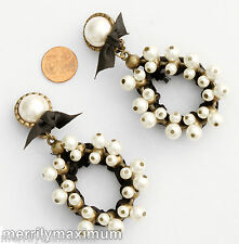 Chico's Earrings Antique Gold Tone Statement Clip Teardrops White Black Accents