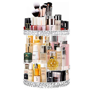 Rotating Makeup Organiser Crystal Cosmetic Storage Box Jewelry Perfume Display