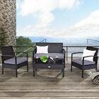 Wicker Patio Furniture Set 4-piece Loveseat Sofa Cushioned Rattan Garden Yard