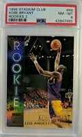 1996 96 Topps Stadium Club Kobe Bryant Rookie RC #R9, Insert Graded PSA 8