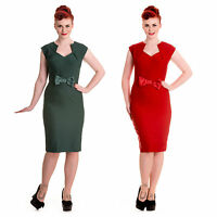 Hell Bunny Brenda Dress 40s 50s Retro Rockabilly Vintage Party Pencil Wiggle Bow