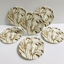 "6 Staffordshire English ironstone tableware coaster plate round 4 1/2"" wheat"