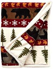 "Real Rabbit Fur Throw Patchwork Blanket Winter Soft Warm Leather 43.3"" X 21.6"""