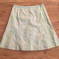 NEW Talbots Pale Green Blue Tropical Leaf Print A-line Flare Cotton Skirt  Sz 12