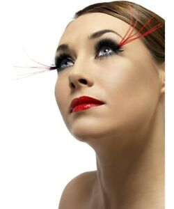 Black Fever Eyelashes with LONG RED PLUMES - Fancy Dress Accessory Carnival