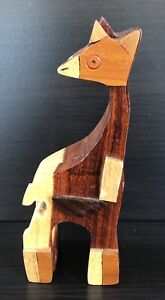 """Hand Crafted Wooden Giraffe Puzzle Box With Secret Jewelry Compartment 7"""" Tall"""