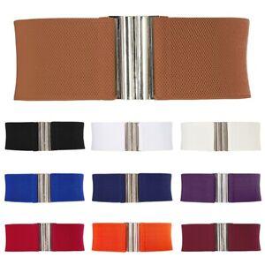 Hot Women Wide Waist Belt Metal Elastic Stretch Buckle Waistband 9 Colors