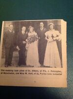 Ephemera 1942 Leicester Picture Pte J Pennington Miss M Hall Wedding ca2
