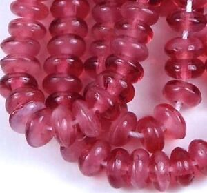 50 Czech Glass Rondelle Beads 4x2mm - Pearl / Fuchsia