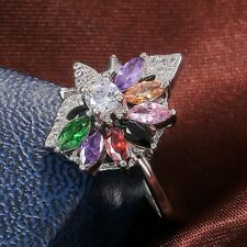 Gorgeous Women 925 Silver Wedding Engagement Ring Multi-color Topaz Size 10