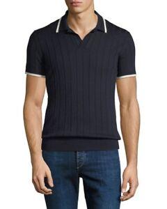 Orlebar Brown Rushton Polo Rib Knit Merino Wool Navy Large