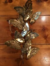 Metal Candle Holder Butterflies Home Interior Wall Butterfly Sconce Gold Tone