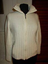 Pull maille chaud boutons gilet zip beige laine/acrylique SARAH PACINI 38/40