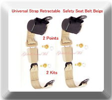 (2 Kits ) Universal Strap Retractable Car Trucks Safety Seat Belt Beige 2 Point